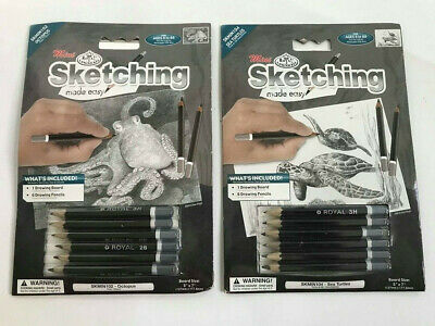 2 items : Mini Sketching Made Easy Octopus & Sea Turtles drawing board pencils