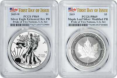 2019 Pride of Two Nations Silver Eagle Maple PR69 PCGS FDOI First Day US Set