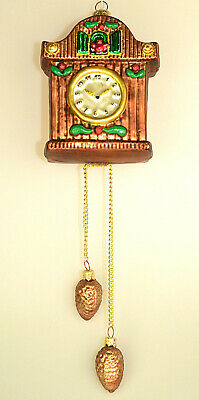 "Large 3D Glass 11.5"" Cuckoo Clock Christmas Ornament W/ Pine Cone Dangles Poland"