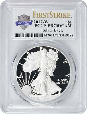 2017-W American Silver Eagle Dollar PR70DCAM PCGS First Strike Anniversary Label