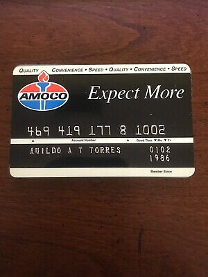 VINTAGE AMOCO EXPECT MORE GAS CHARGE CARD HARD PLASTIC 1986 (a7)