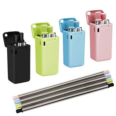 Reusable Metal Folding Collapsible Drinking Straw Portable Outdoor Travel Set