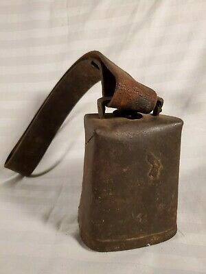 Antique Farm Country Livestock Primitive Sheep Cow Bell ~ Leather Strap Handle