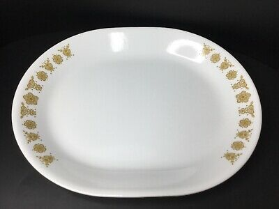 Vintage Corelle Corning Gold Butterfly 12x10 Oval Serving Platter **