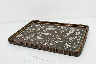 Vintage Chinese Wood Lacquer Serving Tray Mother Of Pearl Inlay