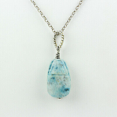 Sterling Silver & Blue Faience Scarab Pendant with Chain
