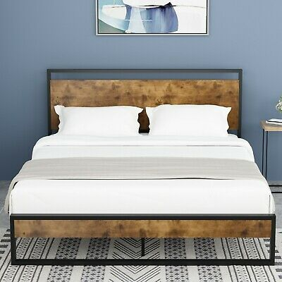 QUEEN/FULL Size Platform Metal Bed Frame With Wood Headboard & Footboard Brown