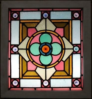 "MIDSIZE OLD ENGLISH LEAD STAINED GLASS WINDOW Victorian Geometric 21.5"" x 23.25"""
