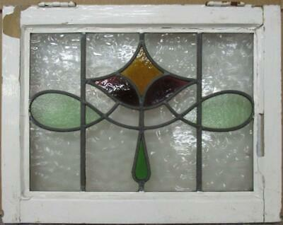 "OLD ENGLISH LEADED STAINED GLASS WINDOW Pretty Geometric Sweep 22"" x 17.25"""