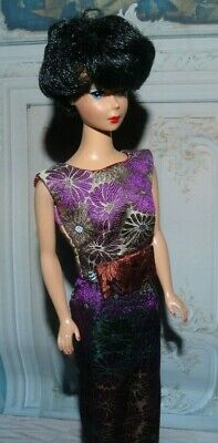 Purple Silk Barbie Dress For Vintage Doll Reproduction Repro,  ooak, handmade