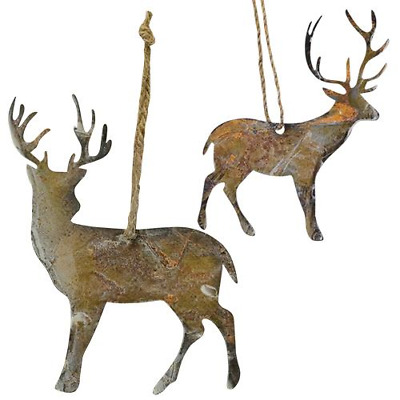 "2 Primitive REINDEER ORNAMENTS 4"" to 5"" Tall GRUNGY Christmas Rustic Farmhouse"