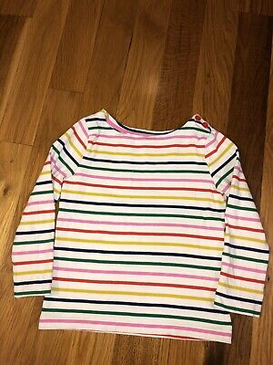 Mini Boden girls cotton stripe Breton top shirt  white red blue multi age 1-16
