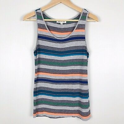 Olive & Oak Nordstrom Sleeveless Tank Top Striped Gray Blue Green Black S Small