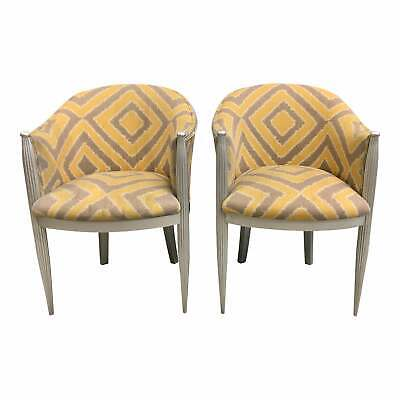 Large Pair of French Art Deco Mahogany Gondola Armchairs or Accent Chairs 1940s