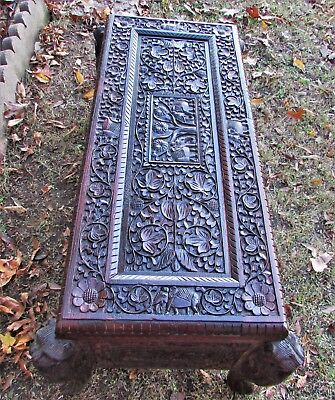 """Antique Carved Asian Storage Bench ROSEWOOD Lion Caryatids 47""""x 20"""" PICK/UP ONLY"""