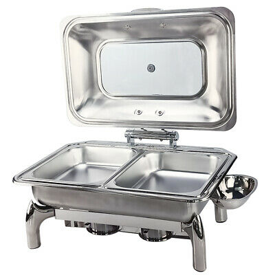 2 Pans Chafing Dish Hydraulic Lid Stainless Steel Catering Buffet Food Warmer