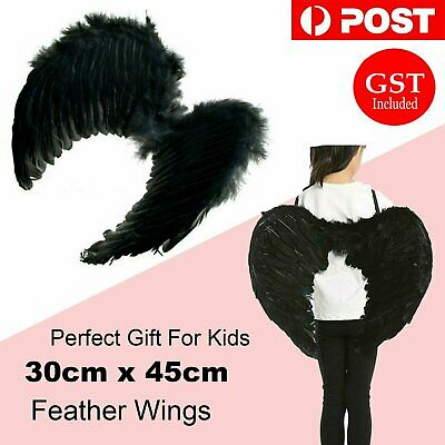 30cm x 45cm Feather Wings Angel Fairy Kids Fancy Dress up Costume Black Party AU