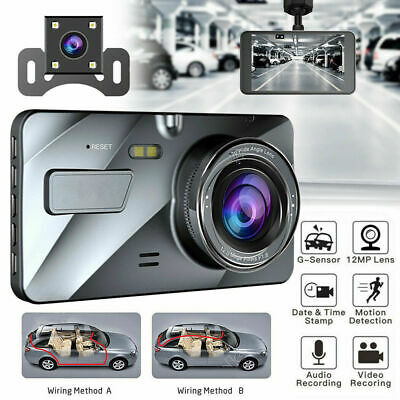 "4"" 1080P 170° DVR Recorder Dash Cam FHD Front and Rear Car Dashboard Camera"