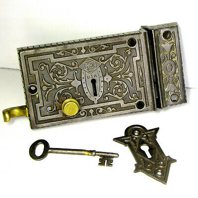 Antique Russell Erwin Cast Iron Door Rim Lock Skeleton Key Night Surface Latch