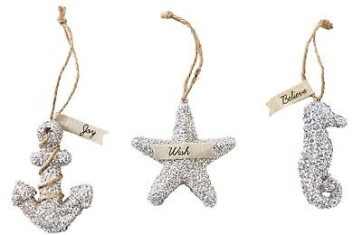 Mud Pie Anchor Seahorse and Starfish Glitter Sea Holiday Ornaments Set of 3