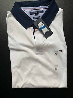 BN-  Mens Tommy Hilfiger Short Sleeve Polo - White With Navy Collar - XL