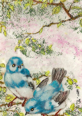 "ACEO ""The Blue Birds"" Original Collage & Mixed Media Painting, By Hélène Howse"
