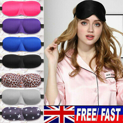 3D Soft Padded Blindfold Blackout Eye Mask Travel Rest Sleep Aid Shade Cover