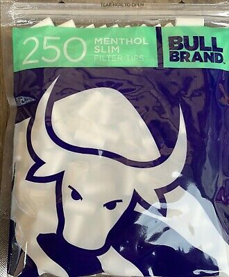5 x 250 Bull Brand Menthol Slimline Filter Tips Rolling Smoking Resealable Bags
