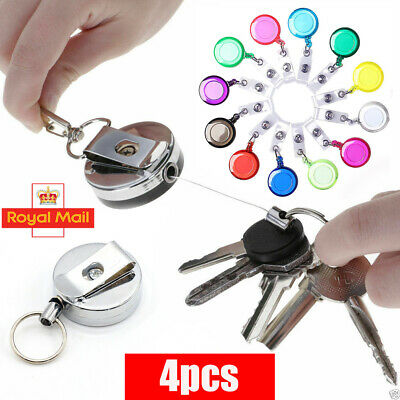 1PC 4PCS Stainless Silver Retractable Key Chain Recoil Keyring Heavy Duty Steel