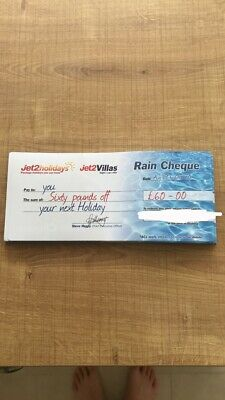 1xNew Summer 2020 Jet2Holidays £60 Rain Cheque voucher - OCT 2020 new codes