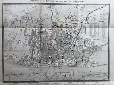 1836 Antique Plan / Map; Liverpool and it's Environs & Cheshire Coast