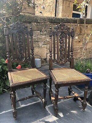 Victorian Oak Carved Hall Chairs ( Pair ) Cane Weave Seat