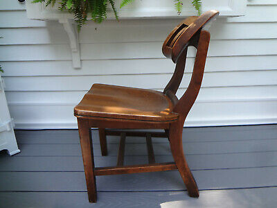 Antique Mid Century W.h. Gunlocke Oak School Desk Teachers Bankers Lawyer Chair