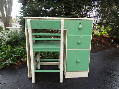 Antique Mid Century 1950 Childs Student School Desk Wood Drawers Dresser & Chair