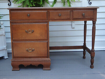 Vtg Antique Ethan Allen Nautical Maple Wood Windsor Student Desk Chest Of Drawer