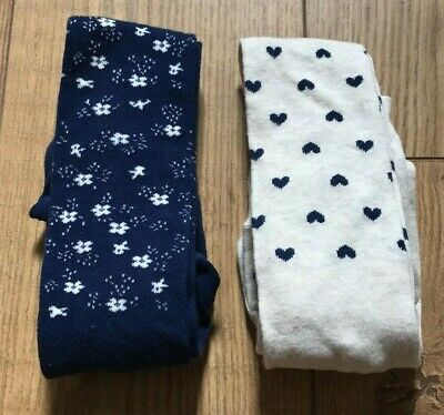 John Lewis Girls' Floral Heart Tights 2 Pack  Cream / Navy 5-6 Years Free P&P