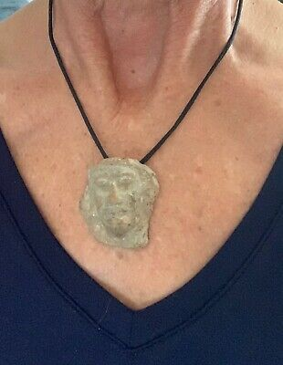 'Aztec Guy' Carved Stone Pendant/Necklace - Adj. Black Cord