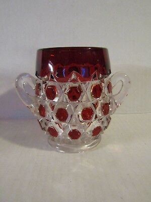 Antique EAPG Red Block Ruby Stained Glass Spooner