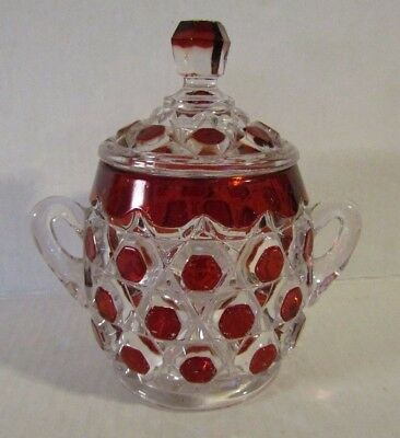 Antique EAPG Red Block Ruby Stained Glass Covered Sugar