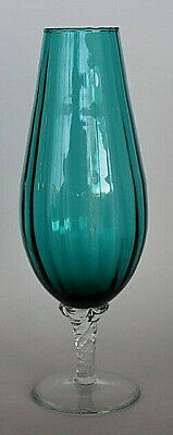 Vintage green and clear fluted vase twisted stem