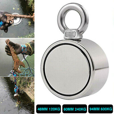 Double Side Super Strong Fishing Magnet Neodymium Pulling Force Round 300KG