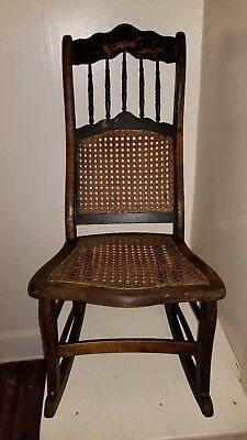 Antique Maple Wooden Rocking Chair, Cane Seat