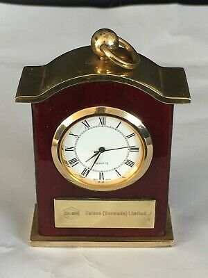 A Wonderful Vintage Of A Small Table/Carriage Clock Of Solid Brass & Red Enamell