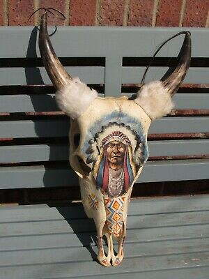 Large HandPainted Native American Red Indian Bull Cow Skull Horns Real Taxidermy