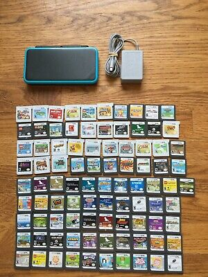 READ LISTING Nintendo 2DS XL System Console Black & Turquoise Blue CHOOSE 1 GAME
