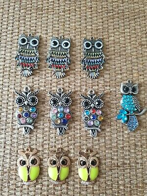10 Large Owl Charms Crystal Detailed pendants for Crafting or Jewellery Making