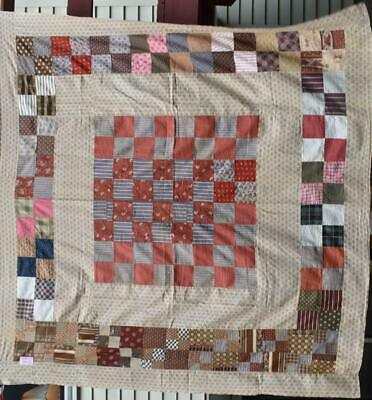 """Antique Quilt Top, """"Center Square"""" in Earth Tones, Nice Early Fabrics, #18607"""