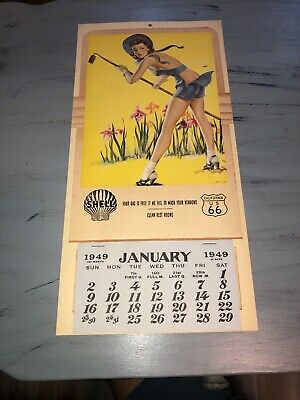 Original 1949 Pinup Girl Shell Gasoline Route 66 Calender