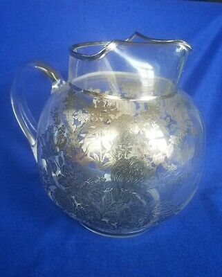 Antique Round Glass Water Pitcher w Heavy Sterling Silver Overlay Floral Design
