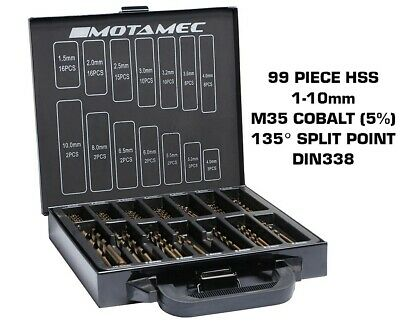 Motamec 99 Piece Cobalt M35 HSS Drill Bits Set 1-10mm Bit High Quality DIN 338